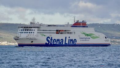 STENA EMBLA arrives in Belfast for the first time on the morning of January 2, 2020. © Steven Tarbox / niferry.co.uk.