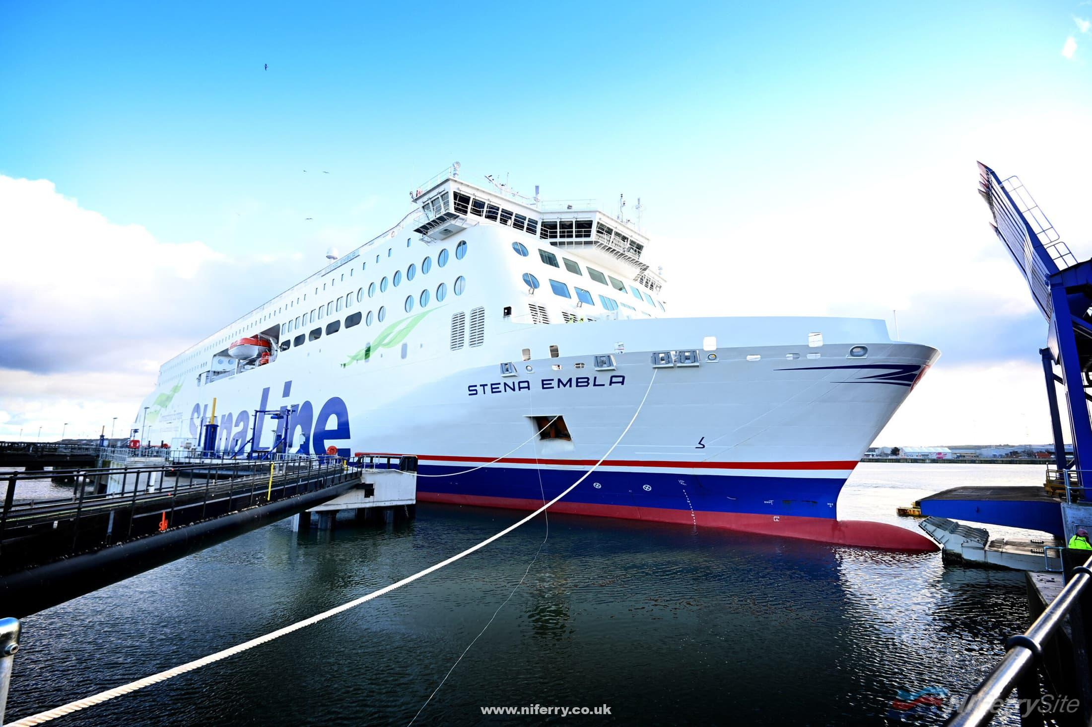 STENA EMBLA on the berth at Victoria Terminal 2 following her maiden arrival in Belfast, 02.01.2021. Stena Line.