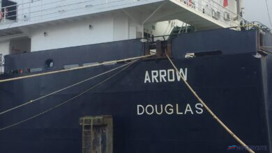 The stern of ARROW showing her name and homeport of Douglas. Her as-built home port of Tallinn can be made out embossed just above Douglas. Image © Gary Andrews.