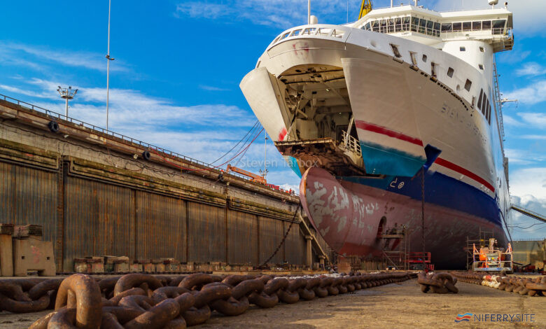 STENA SUPERFAST VII in Belfast Dry Dock, Harland and Wolff. Image © Steven Tarbox 2017.