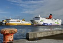 Stena Line's STENA EUROPE passes MEGA EXPRESS FOUR on arrival at Dublin Port, 17.02.2021. Image: © Gordon Hislip.