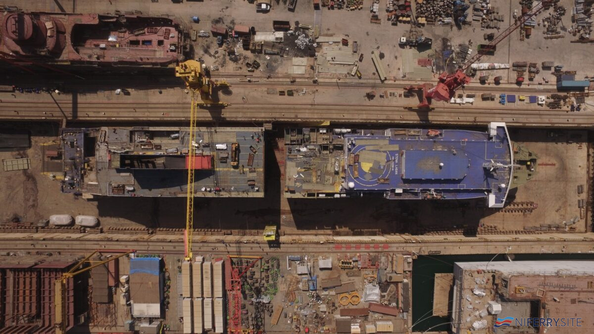 "As part of her ""groundbreaking"" 36m lengthening, STENA LAGAN was split in two. Image: Stena Line."