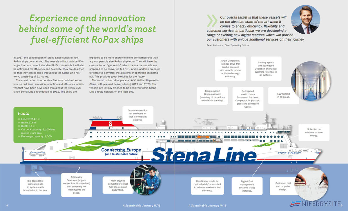 "An extract from Stena Line's ""A Sustainable Journey17/18"" highlighting some of the measures to make the E-Flexer class more environmentally friendly and efficient. Stena Line"