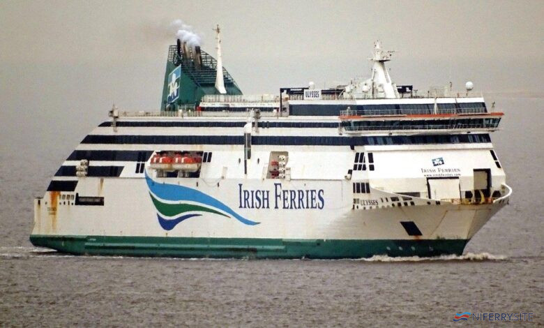 Irish Ferries ULYSEES arrives on Merseyside ahead of her 2021 dry-docking at Cammell-Laird. Image © Ian Collard.