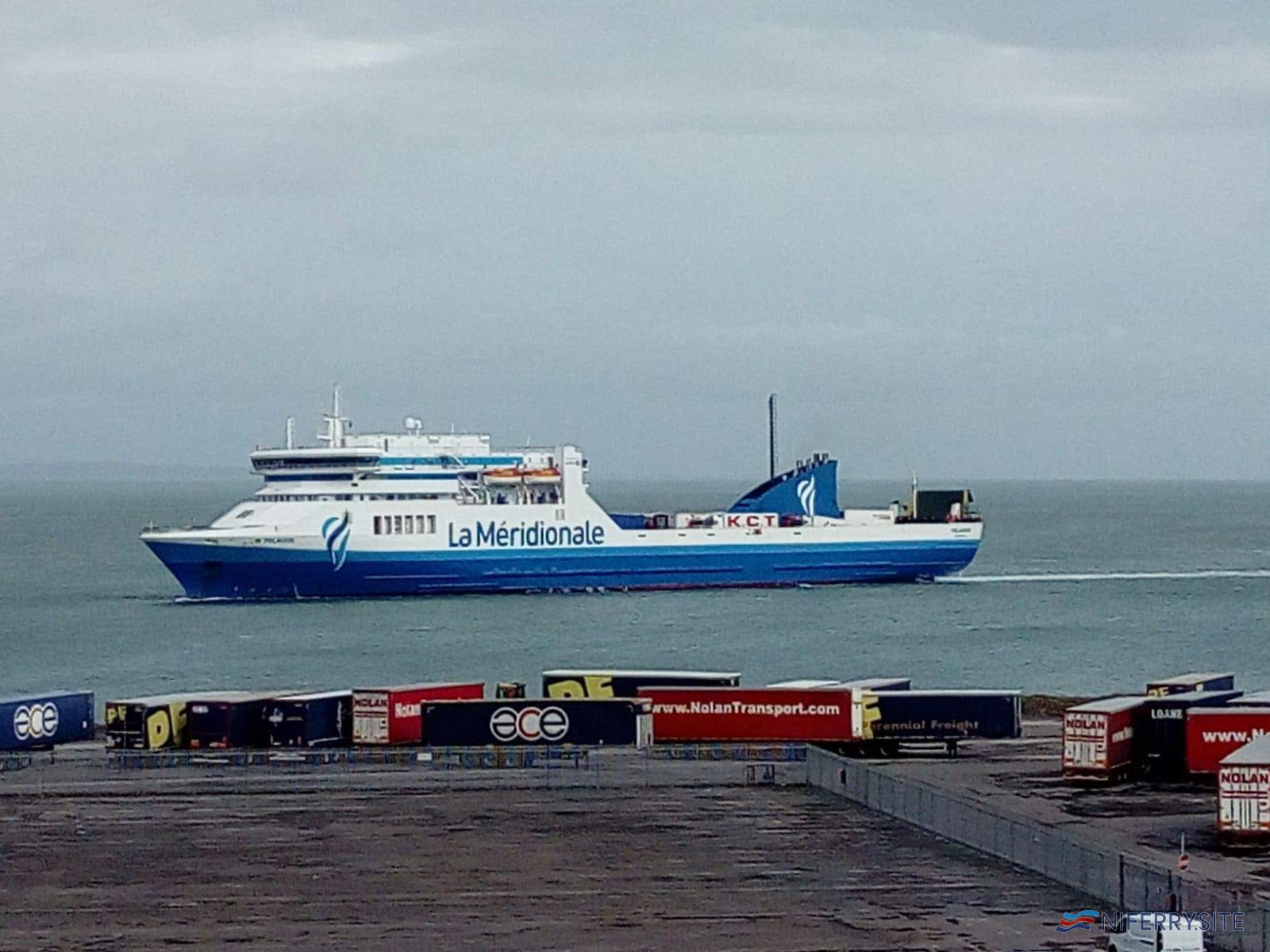 PELAGOS makes her maiden arrival at Rosslare Europort on the morning of March 25, 2021. Image © John Boyce.