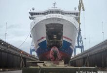 STENA SUPERFAST VII in dry-dock at Harland & Wolff during 2019. Image: Copyright © Scott Mackey.