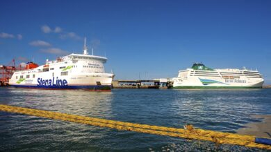 STENA HORIZON and Irish Ferries' W.B. YEATS seen together at Dublin port, March 2021. Image: Copyright © Gordon Hislip.