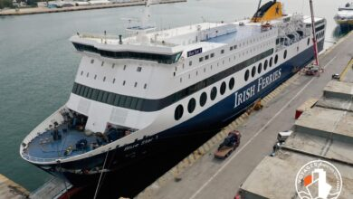 BLUE STAR 1 being repainted in Irish Ferries livery. Image: © Voyager ShipSpotting.