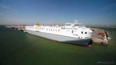 "CLdN's ""Brexit Buster"" 8.000 lane meter CELINE is the biggest RoRo Vessel in the world. She is currently deployed on the Zeebrugge – Dublin route. Image: CLdN RoRo SA."