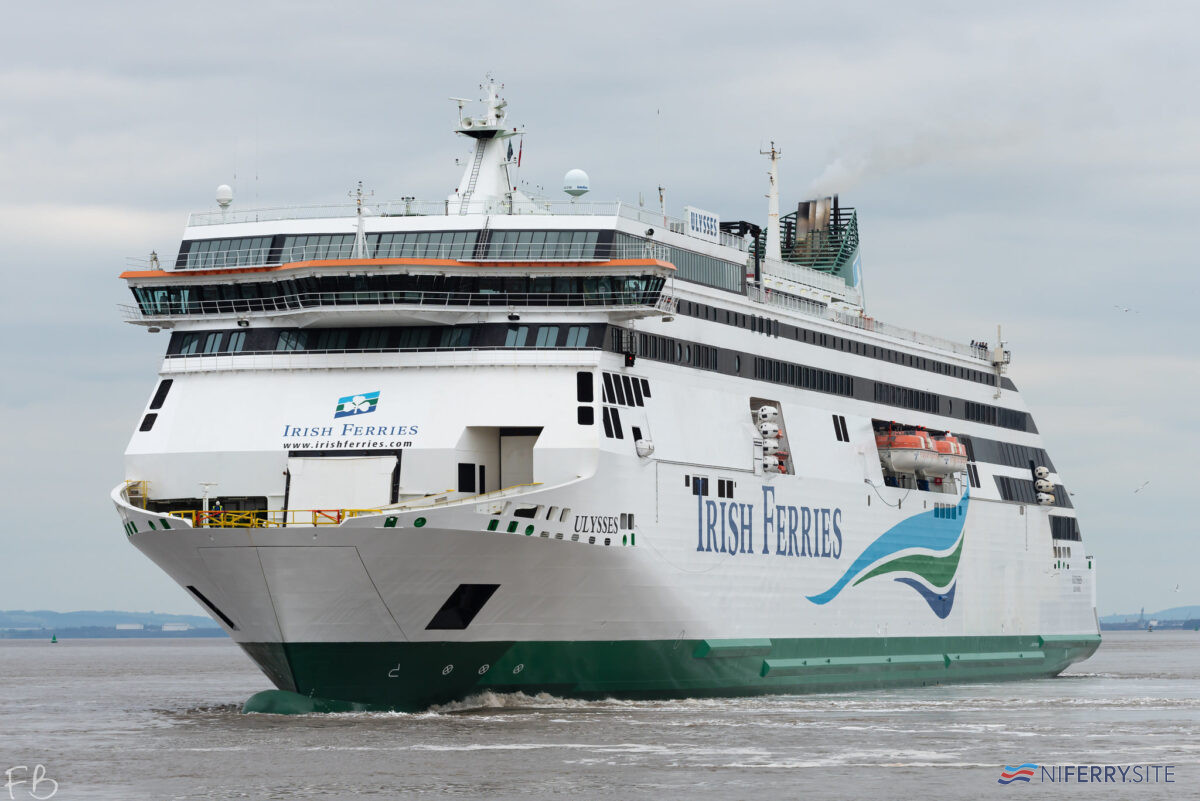 Irish Ferries ULYSSES ship leaves Cammell Laird's dry dock number 5 outbound for sea, 05.03.2021. She was assisted by VB BELGIE. Image © Christopher Triggs.