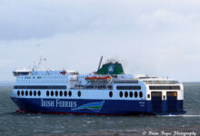 Irish Ferries' BLUE STAR 1 goes astern to berth number 2 at Rosslare Europort, with the challenges of high winds and rough sea conditions on 05.04.2021. Image Brian Boyce.