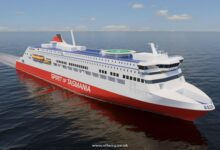 A rendering of the new TT-Line Tasmania ferries to be built by RMC. Image: Rauma Marine Constructions