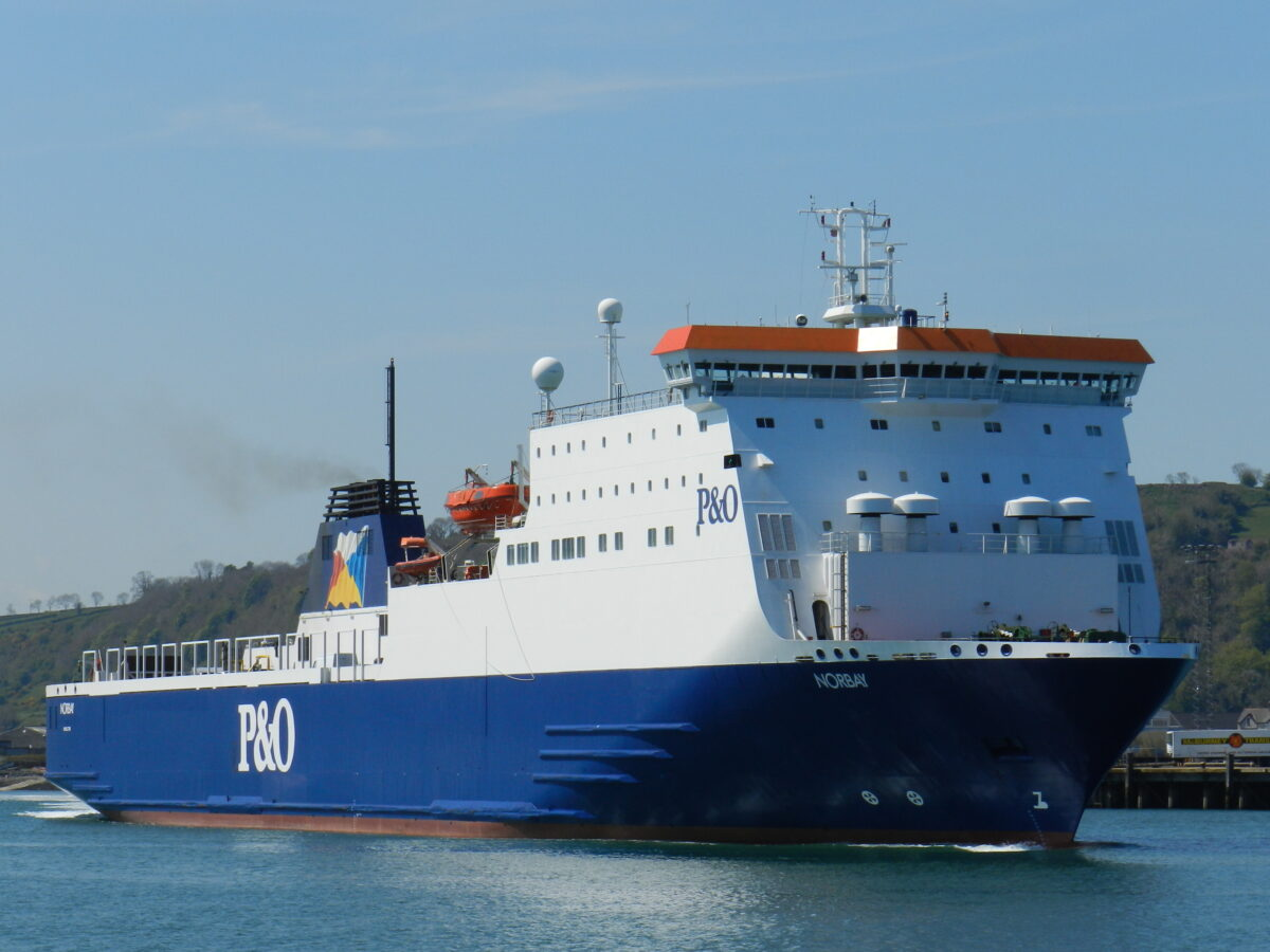 P&O Ferries' NORBAY departs Larne. Image: © Scott Mackey.