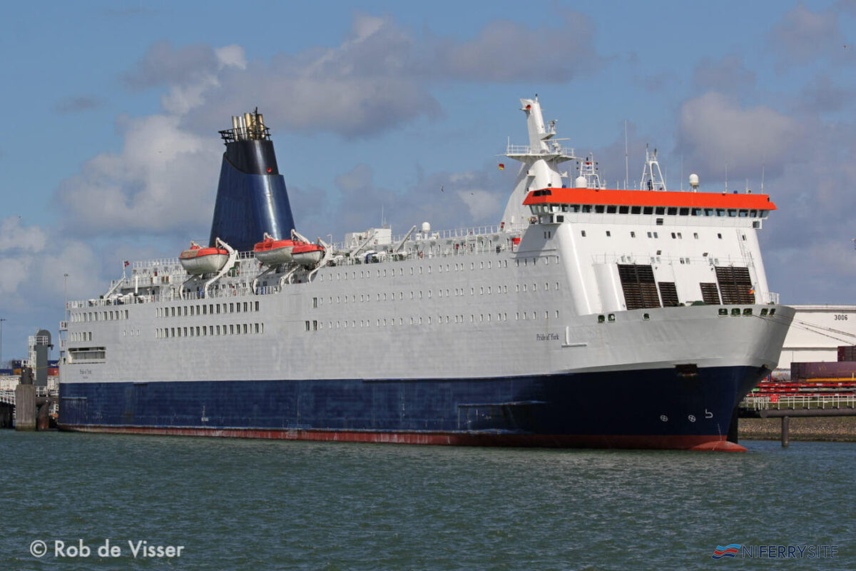 PRIDE OF YORK seen at Rotterdam with her P&O Ferries hull and funnel branding removed. Image: © Rob de Visser.